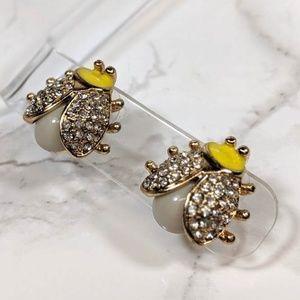 Rhinestone Ladybug Earrings
